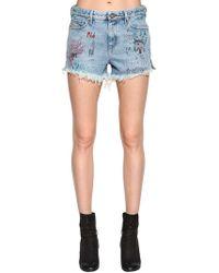 DIESEL - Graffiti Distressed Cotton Denim Shorts - Lyst