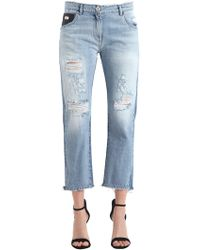 John Richmond - Baggy Fit Broken Cotton Denim Jeans - Lyst