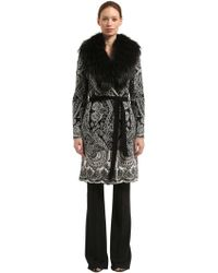 Roberto Cavalli - Wool Blend Jacquard Coat With Fur Trim - Lyst