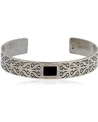 Marco Dal Maso - Ara Engraved Silver Bracelet W/ Onyx - Lyst