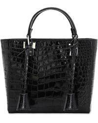 Giambattista Valli Croc Embossed Leather Top Handle Bag - Black