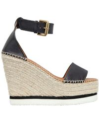 See By Chloé - 120mm Leather Espadrille Wedges - Lyst
