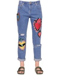 House of Holland - Jeans Aus Baumwolldenim Mit Patches - Lyst