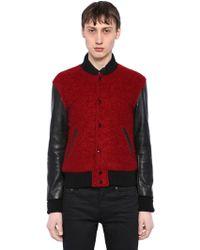 Saint Laurent - Leather & Brushed Wool Teddy Jacket - Lyst