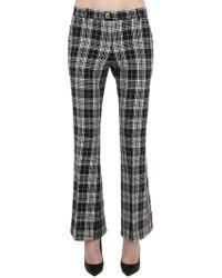 Tommy Hilfiger - Flared Check Stretch Cotton Pants - Lyst