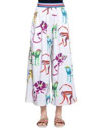 Stella Jean - Monkey Print Cropped Wide Cotton Trousers - Lyst