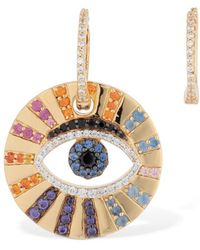 Apm Monaco - Asymmetric Multicolor Lucky Eye Earrings - Lyst