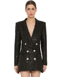 Balmain - Sequins Oversized Double Breasted Blazer - Lyst