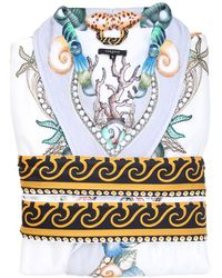 Versace - Les Étoiles De La Mer Printed Silk Robe - Lyst