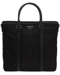 Prada - Nylon Tote Bag W/ Leather Details - Lyst