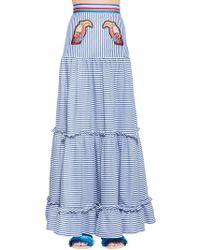 Stella Jean - Toucans Striped Cotton Maxi Skirt - Lyst