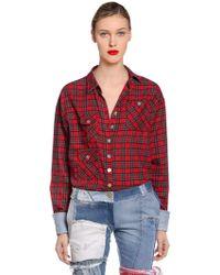 Ronald Van Der Kemp - Plaid Flannel Shirt W/ Denim Cuffs - Lyst
