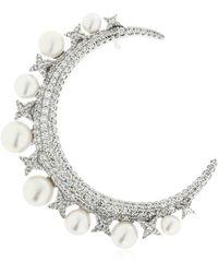 Apm Monaco - Silver Moon Mono Earring W/ Pearls - Lyst