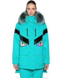 Fendi - Monster Hooded Padded Ski Coat W/ Fur - Lyst