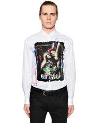 Just Cavalli - Printed Cotton Poplin Shirt W/ Studs - Lyst