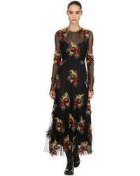Antonio Marras - Floral Embroidered Mesh Dress - Lyst