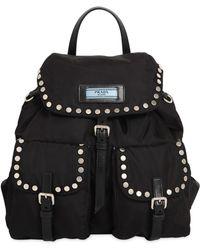 Prada - All Designer Products - Etiquette Nylon Backpack W/ Studs - Lyst