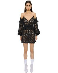 Francesco Scognamiglio - Cut Out Shoulder Macramé Lace Dress - Lyst