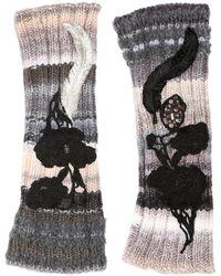 Antonio Marras - Embroidered Fingerless Wool Knit Gloves - Lyst
