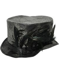 Move - Feather Woven Straw Top Hat - Lyst