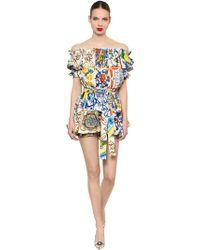 Dolce & Gabbana - Off The Shoulder Maiolica Poplin Romper - Lyst