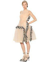 Simone Rocha - Embellished Tulle Dress W/ Tweed Ruffles - Lyst