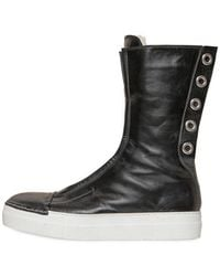 Rocco P - 20mm Eyelets Leather High Top Trainers - Lyst