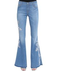 Ermanno Scervino - Flared Lace Embroidered Denim Jeans - Lyst
