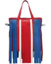 Balenciaga - Small Bazar Leather Tote Bag W/ Fringe - Lyst