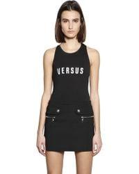 Versus - Embroidered Logo Cotton Jersey Bodysuit - Lyst