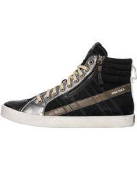 DIESEL - Suede & Leather High Top Sneakers - Lyst