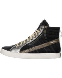 DIESEL - Suede & Leather High Top Trainers - Lyst