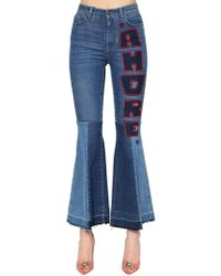 Dolce & Gabbana - Flared Amore Cotton Denim Jeans - Lyst