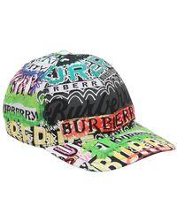 Burberry - Graffiti Check Cotton Baseball Hat - Lyst