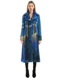 Marco De Vincenzo   Surreal Intarsia Faux Fur Long Coat   Lyst