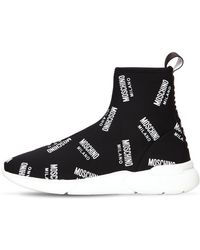 Moschino - 20mm Logo Knit Sock Sneakers - Lyst