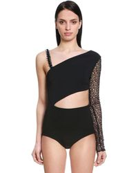 David Koma Macramé & Stretch Cady Bodysuit - Black