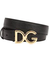 Dolce & Gabbana - 25mm Dg Dauphine Leather Belt - Lyst