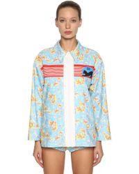Miu Miu - Printed Denim Zip-up Jacket - Lyst