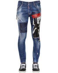 DSquared² - 16cm Printed Skater Cotton Denim Jeans - Lyst