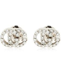 Gucci - 18kt White Gold & Diamond Gg Earrings - Lyst