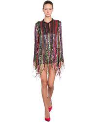 Amen - Fringe Sequined Blouse Mini Dress - Lyst