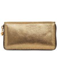 Alexander McQueen - Metallic Leather Zip Around Wallet - Lyst