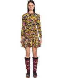 Etro - Draped Printed Crepe De Chine Mini Dress - Lyst