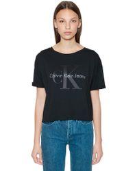 Calvin Klein - Cropped Ck Logo Printed Cotton T-shirt - Lyst