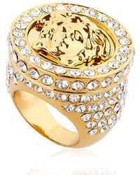 Versace - Medusa Ring W/ Crystals - Lyst