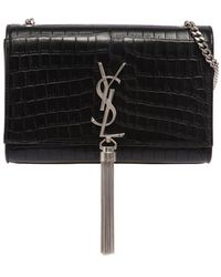 Saint Laurent - Small Kate Monogram Croc Embossed Bag - Lyst
