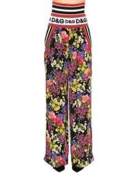 Dolce & Gabbana - Floral Stretch Silk Charmeuse Pants - Lyst