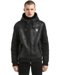 EA7 - Hooded Faux Shearling & Nylon Jacket - Lyst