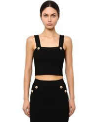 Balmain - Viscose Blend Knit Crop Top - Lyst